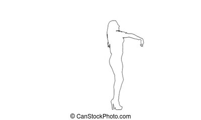 Outline sketch of woman makes graceful erotic movements. ...