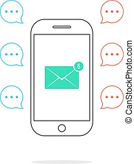 outline smartphone with colored speech bubbles and email icon