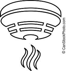 Outline smoke detector icon on white background