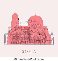 Outline Sofia skyline with landmarks.