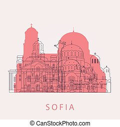 Outline Sofia skyline with landmarks.