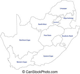 South Africa map designed in illustration with the provinces
