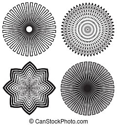 Four black and white spiral design patterns created from outlines.