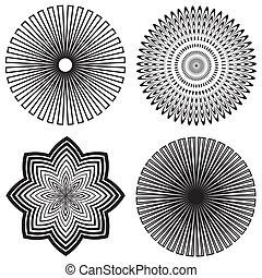 Outline Spiral Design Patterns - Four black and white spiral...