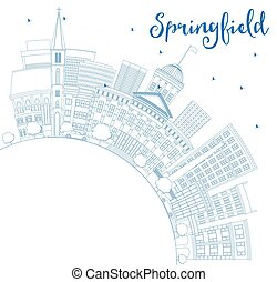 Outline Springfield Skyline with Blue Buildings and Copy Space.