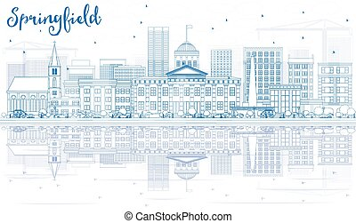 Outline Springfield Skyline with Blue Buildings and Reflections.
