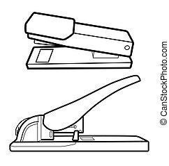 outline stapler - Vector Illustration of  outline stapler.