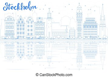 Outline Stockholm Skyline with Blue Buildings and...