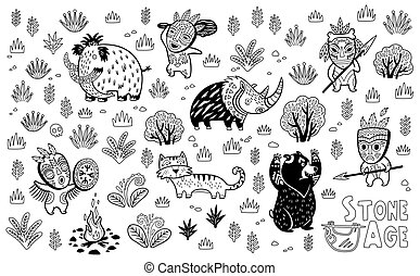 Outline Stone Age vector set