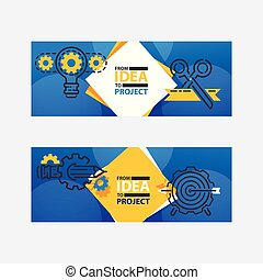 Outline strategy icons banners vetor illustration. Light bulb with gears and cogs working together. From idea to project. Achieving success. Reaching goals. Rotating mechanism.