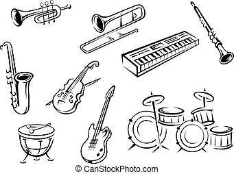Musical instrument icons in outline style with guitar, violin, trumpets, saxophone, piano and drums for classic orchestra concept design