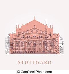 Outline Stuttgart skyline with landmarks.