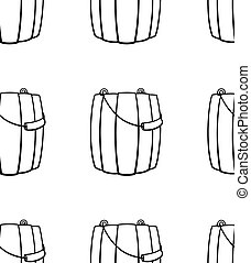 Outline style wooden buckets for bathhouse seamless pattern on white background