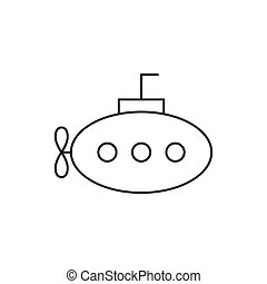 Outline submarine icon isolated on white background