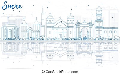 Outline Sucre Skyline with Blue Buildings.