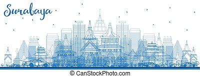 Outline Surabaya Skyline with Blue Buildings.
