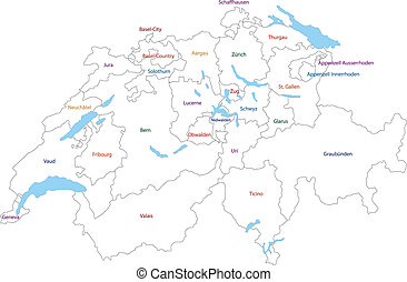 Outline Switzerland map - Administrative division of the...