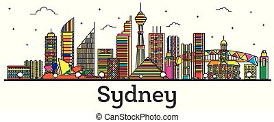 Outline Sydney Australia City Skyline with Color Buildings Isolated on White.