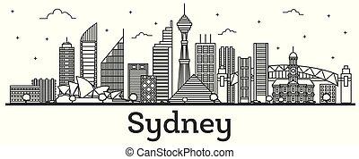 Outline Sydney Australia City Skyline with Modern Buildings Isolated on White.