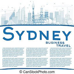 Outline Sydney Australia Skyline with Blue Buildings and Copy Space.