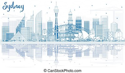 Outline Sydney Australia Skyline with Blue Buildings and Reflections.
