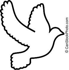 Outline symbol dove