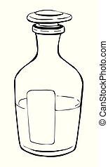 outline., szkic, stopper., poznaczcie., symbol., sketch-style, szklana butelka, icon., rysunek