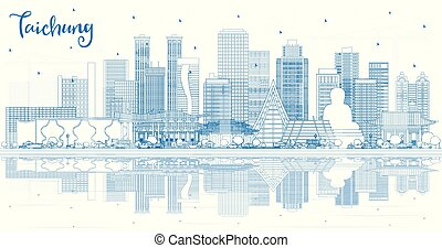 Outline Taichung Taiwan City Skyline with Blue Buildings and...