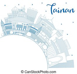 Outline Tainan Taiwan City Skyline with Blue Buildings and ...