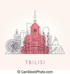 Outline Tbilisi skyline with landmarks.