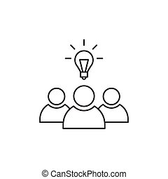 Outline teamwork icon isolated on white background