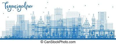 Outline Tegucigalpa Honduras City Skyline with Blue...