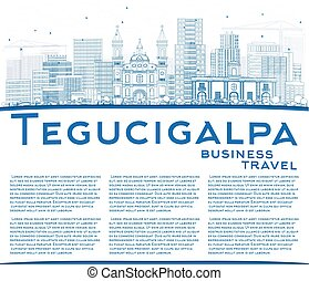 Outline Tegucigalpa Skyline with Blue Buildings and Copy...