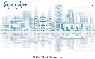 Outline Tegucigalpa Skyline with Blue Buildings and...