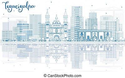 Outline Tegucigalpa Skyline with Blue Buildings and...