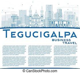 Outline Tegucigalpa Skyline with Blue Buildings and Copy...