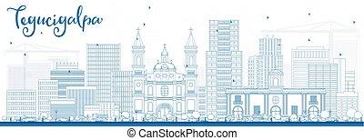 Outline Tegucigalpa Skyline with Blue Buildings. Vector...