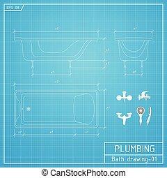 outline., tervrajz, tető, ábra, fürdőkád, vektor, háttér, nézet., elülső, lejtő