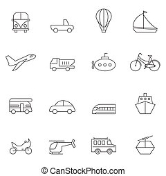 Outline transpost icon set vector illustration
