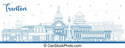 Outline Trenton New Jersey City Skyline with Blue Buildings.
