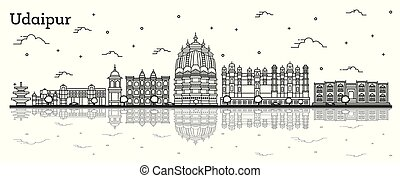 Outline Udaipur India City Skyline with Historical Buildings...