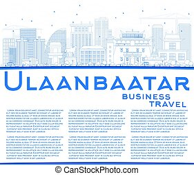 Outline Ulaanbaatar Skyline with Blue Buildings and Copy Space.