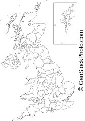 Outline United Kingdom map - Administrative divisions of...