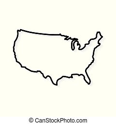 outline United States map- vector illustration