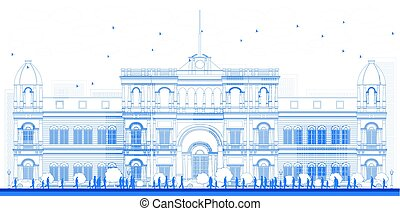 Outline university or college building in classic style. ...