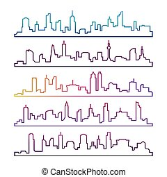 Outline urban vector cityscape set isolated. Colorful skyline city line silhouettes