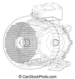 outline., vecteur, moteur électrique