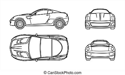 Outline Vector Car On A White Background, Line Art, All Views, Four Views, Side; Front; Back; From Above; Top. Fast Racing Car Template For Advertising. For Coloring Book Page.