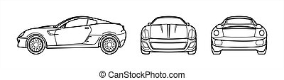 Outline Vector Car On A White Background, Line Art, All Views, Three Views, Side; Front; Back. Fast Racing Car Template For Advertising. For Coloring Book Page.