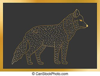 Outline vector golden wolf icon on a black background....